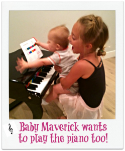Baby Mav wants to play the piano!