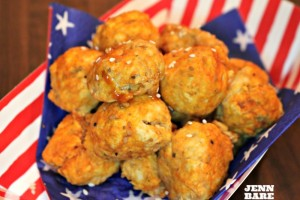 Red, White & Bleu Buffalo Chicken Meatballs