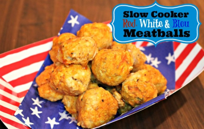 Slow Cooker Red White Bleu Meatballs