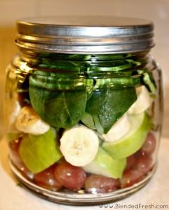 smoothie ingredients in jar