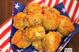 Red, White & Bleu Buffalo Chicken Meatballs